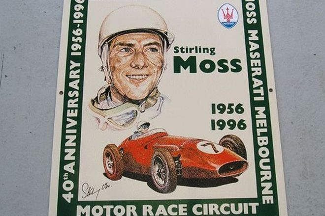 Enamel Sign - Stirling Moss at Albert Park Lake 40th Anniversary