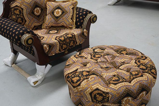 Arm Chair - Single Versace Style with Matching Ottoman and Cushions
