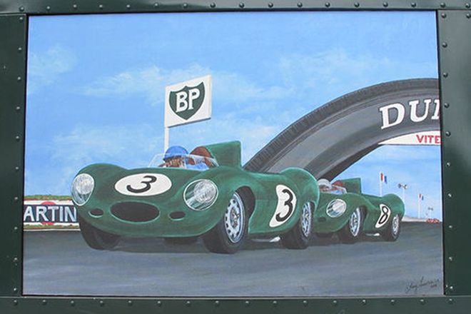 Framed Painting - Jaguar D-Types at Le Mans in Riveted Framed by Terry Lawrie (115cm x 80cm)