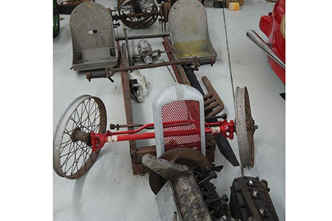 G.N. Project Lot - Miscellaneous parts including chassis, axles,engine parts, wheels and more