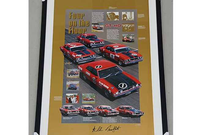 Framed Signed Poster - Tribute to Ford Falcon GT-HO, signed by Allan Moffat (105 x 74cm)