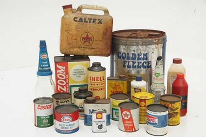 Tins & Bottles x 21 - Assorted Golden Fleece, Caltex & Shell