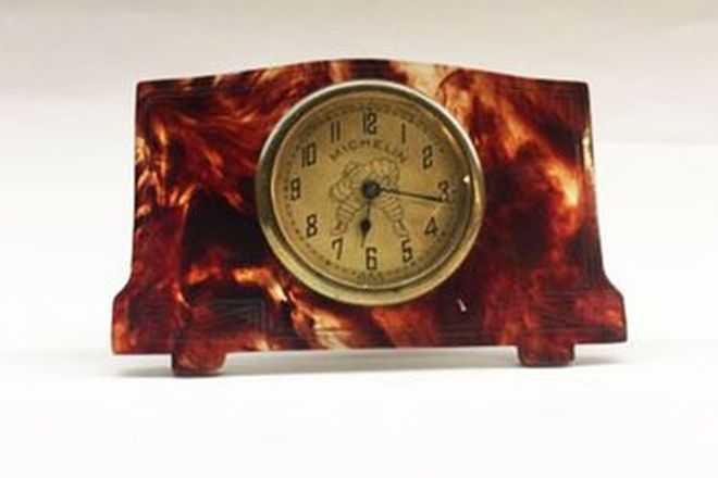 1920 Michelin Man Tortoise Shell Travel Clock 80mm - 3.5