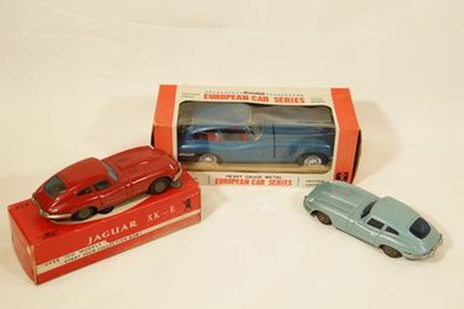 Model Cars x 3 - 1960s Tinplate Friction drive Jaguar E-Type by Bandai, Japan & by Bandi Line, Korea