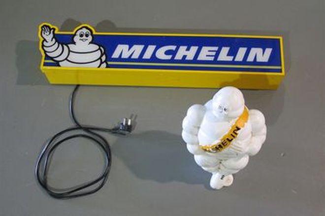 Light Box - Michelin Sign (75 x 10 x 13cm)  & Michelin Man Plastic Figure (35cm High)