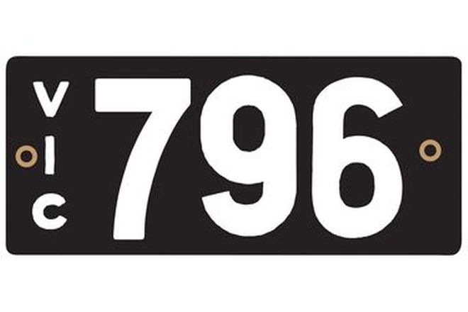Victorian Heritage Numerical Number Plate - 796
