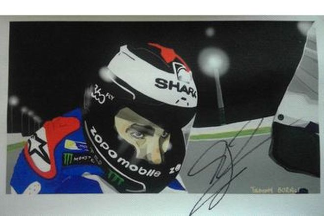 Painting of Jorge Lorenzo Signed - 13cm x 23cm approx (small)