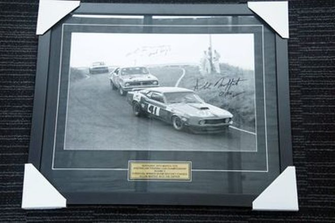 Framed Photo - Bathurst 1970 ATCC in Black &White Signed by Beechey & Moffat (61 x 71cm)