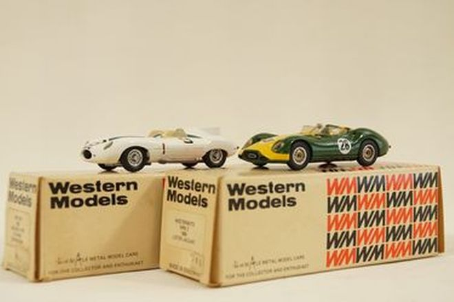 Model Cars x 2  - Western Models Metal 1958 Lister Jaguar & D-Type #9 White (1:43 scale)
