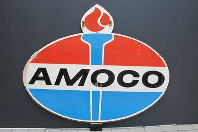 Painted Aluminium Sign - Amoco Double Sided (1.8m x 1.46m)