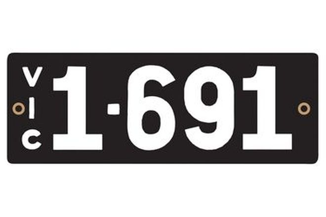 Victorian Heritage Numerical Number Plates '1.691'