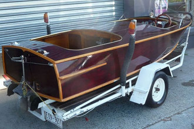Seacraft 'Twin Cockpit' Timber Ski Boat on Trailer