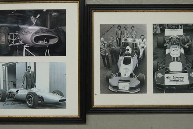 Framed Photos x 4 - 3 x Signed by Ron Tauranac & 1 Signed by Sir Jack Brabham