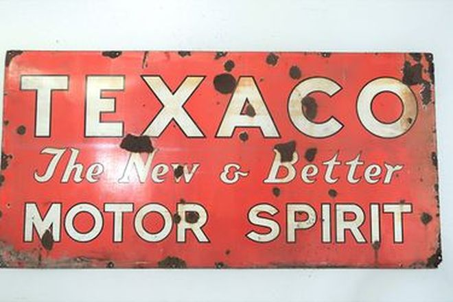 Enamel Sign – Texaco Motor Spirit Single sided (92 x 193cm)