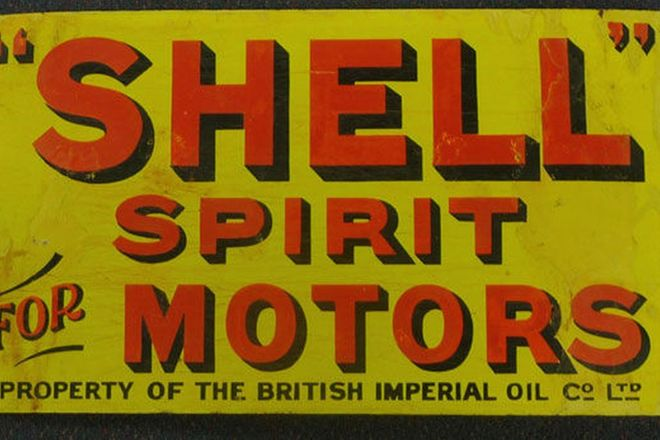 Enamel Sign - Shell Post Mount Double Sided  (57cm x 33cm)