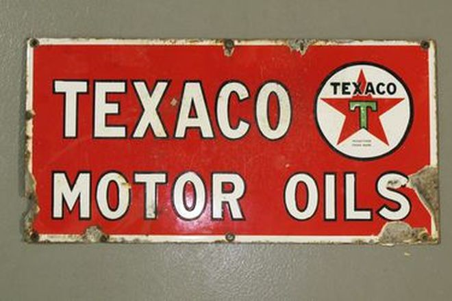 Enamel Sign - Texaco Motor Oils (46 x 23cm)