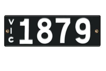 Victorian Vitreous Enamel Number Plates -  '1879'
