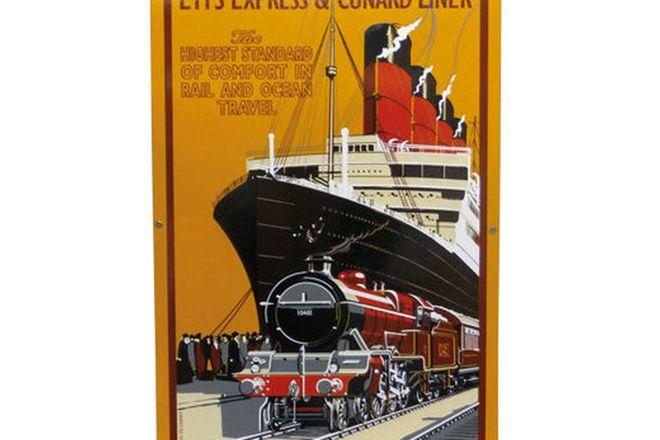 Enamel Sign - LMS Express & Cunard Liner (Reproduction)