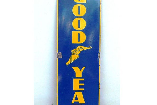 Enamel Sign - Goodyear Vertical Sign (30cm x 90cm)