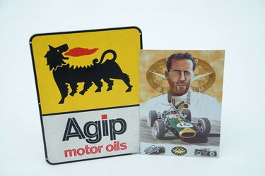 Tin Signs x 2 - AGIP Motor Oils & Sir Jack Brabham in Repco Brabham by Mike Harbour