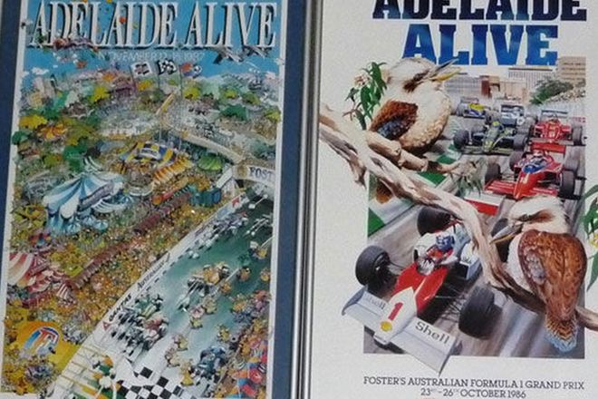 Framed Posters x 12 - 8 x Adelaide F1 GP 1985-1991,1993 and 4 x Australian Motorcycle GP 1989-91
