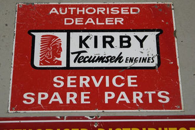 Signs - Cooper Machinery Enamel Sign & Kirby Tecumseh Engines Tin Sign