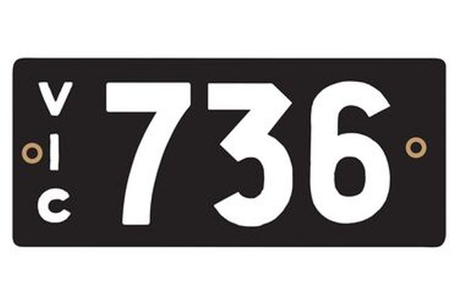 Victorian Heritage Numerical Number Plates '736'