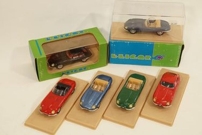 Model Cars x 6 - Eligor, France diecast Jaguar E-Types: 4 x Roadsters - 1 good box, 2 x Coupes