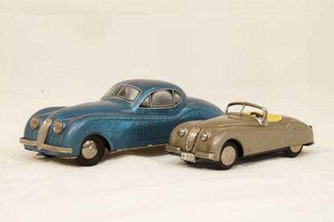 Model Cars x 2 - Jaguar XK120 FHC tinplate c1950s by DISTLER & XK120 Roadster tinplate