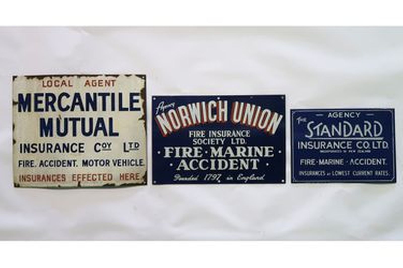 Enamel Signs x 3 - Mercantile Mutual, Norwich Union, Standard Insurance