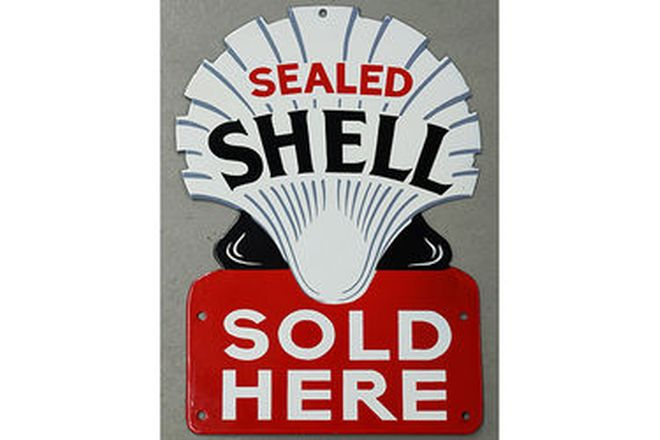 Enamel Sign - 2 x 'We sell Shell Lubricating Oils' & 'Shell Sold Here' (reproduction)