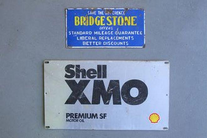 Signs x 2 - Bridgestone Enamel Sign (30cm x 15cm)  & Shell XMO Tin Sign (48cm x 27cm)