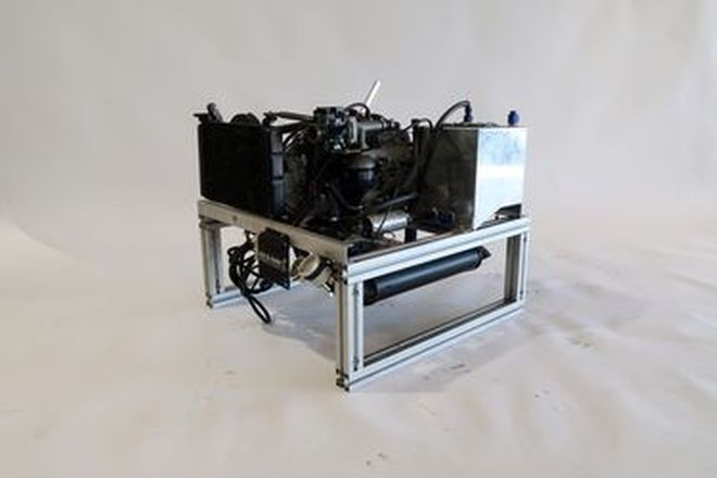 Engine - SYTEC Flat Twin 2-Cylinder 500cc Horizontally Opposed watercooled on display stand
