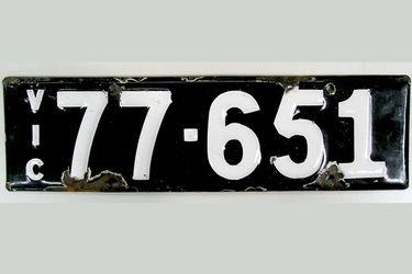 Victorian Vitreous Enamel Number Plates - '77.651'