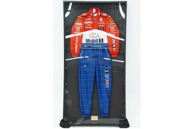 FRAMED RACE SUIT - Craig Lowndes HRT from his ATTC winning year of 1998, framed and glazed