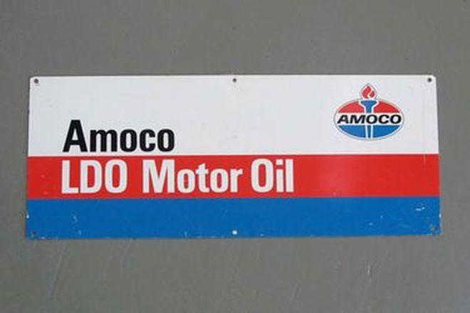Tin Sign - Amoco LDO Motor Oil Sign (76cm long x 30cm wide)