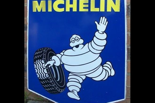 Enamel Sign - 1960's Michelin Sheild double sided (80x60cm)