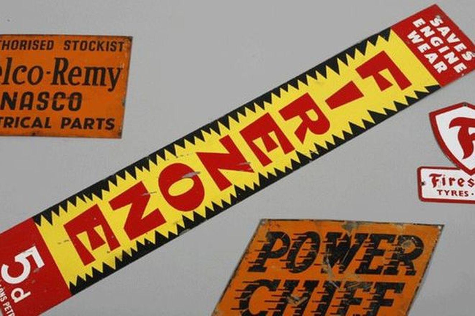 Enamel Signs x 3 - Delco Remy, Firestone, Power Chief 1 x Tin Sign - Firezone