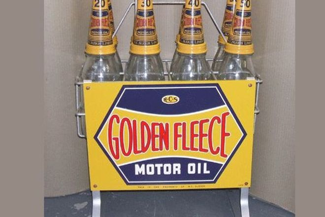 Golden Fleece Oil Stand with Quart Glass Bottles & Tin Tops