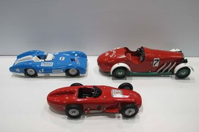 Model Cars x 3 - Marklin Clockwork Tin-plate Cars 1 x Mercedes SSK Racer, 2 x Mercedes W196 Racers