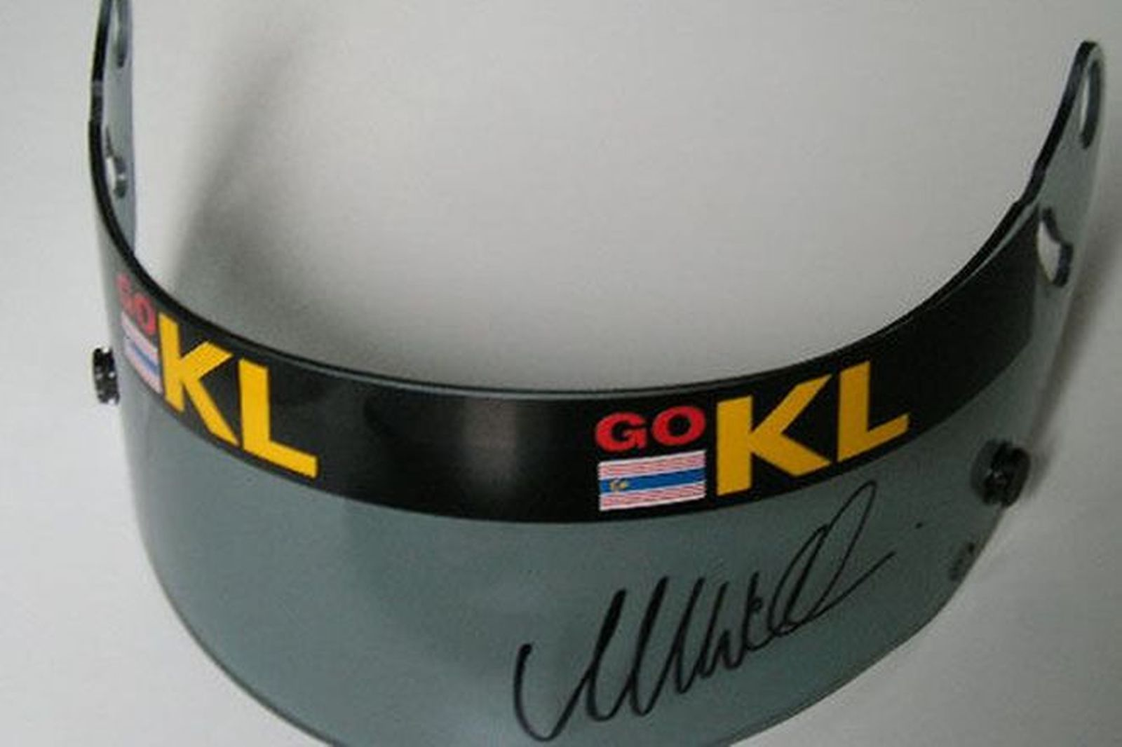 Visor - Mark Webber worn visor in Minardi Asiatech complete with stone chips and signed photo