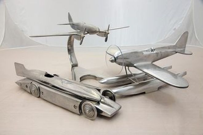 Cast Models - 3 x Cast Aluminium Art Deco Style Aircraft & Land Speed Models