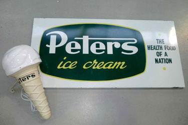 Advertising Signs - Peter's Enamel Sign (90 x 180cm) & Peter's Reproduction Ice Cream Cone