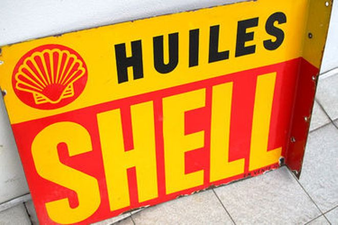 Enamel Sign - Shell Huiles Double Sided Post Mount (60 x 45cm)