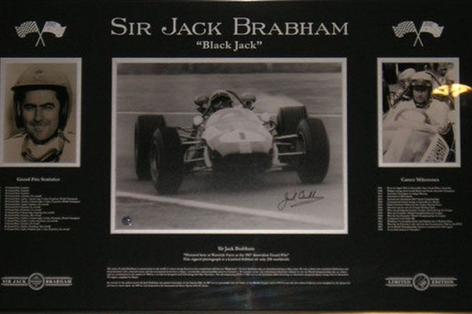 Frame containing 3 prints - Sir Jack Brabham Collection featuring signed print in Cooper-Climax