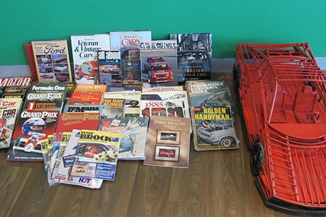Books - A Selection of Motoring Books & Magazines (Porsche & Peter Brock) & Bamboo car (120 x 40cm)