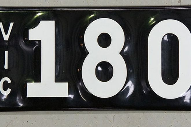 Number Plates - Victorian Numerical Number Plates '180'
