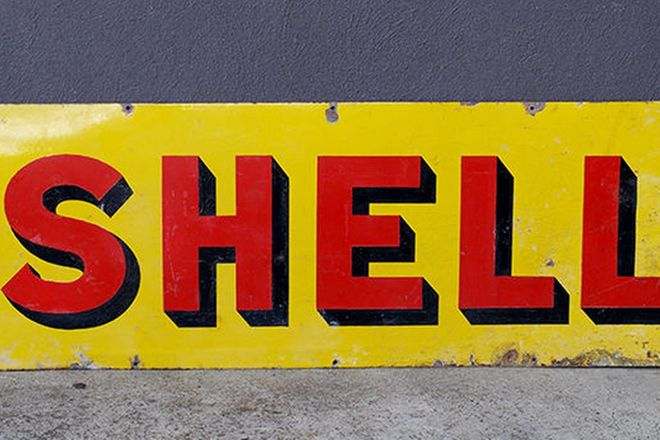 Enamel Sign - Shell (136 x 46cm)