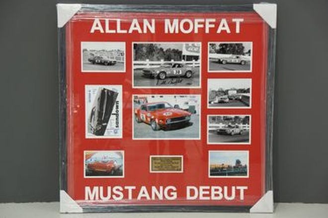 Framed Signed Photo - Allan Moffat Mustang Debut Collage - Sandown May 1969