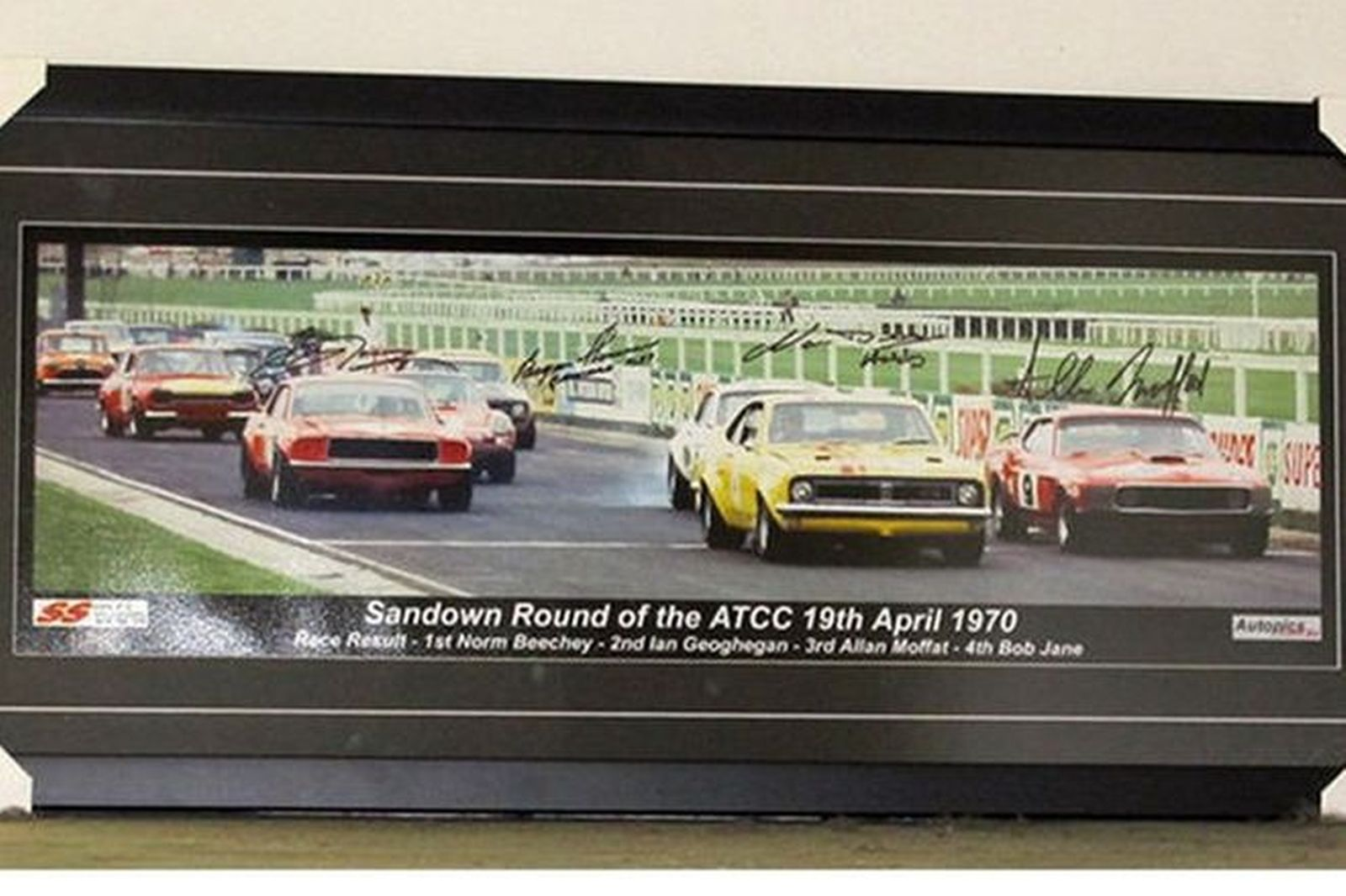 Framed Signed Photograph - Start Line 1970 Australian Touring Car Championships at Sandown